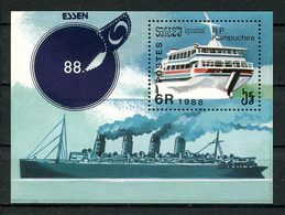 KAMPUCHEA 1988 Bloc N° 67 ** Neuf MNH Superbe C 5,50 € ESSEN Bateaux Navires Transports Maritimes Foire Timbres - Kampuchea
