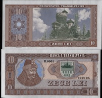 714-SLOVAKIA (produktion) ROMANIA-Transilvania10 Lei DRACULA NOT LEGAL TENDER Private Issue 500 Pcs UNC 2016 - Romania