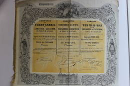 Action De 500 Francs 1865 Cie Des Chemins De Fer De Saragosse à Escatron - Railway & Tramway