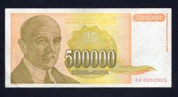 Banconota Jugoslavia 500.000 Dinari 1994 SPL - Yugoslavia