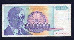 Banconota Jugoslavia 500.000.000 Dinara 1993 Circolata - Yugoslavia