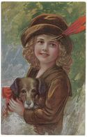 Unsere Lieblinge - Postmark 1921 - H Nr 510 - Girl & Dog - Our Favourite - 1900-1949