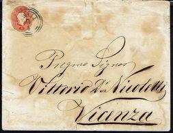 ITALIE - Lombardo-Vénétie - 1863 - Enveloppe Entier Postal 5 Soldi De Adria Vers Vicenza - B/TB - - Lombardy-Venetia