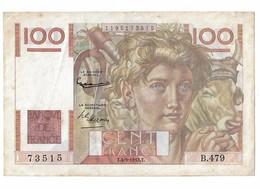 100 Francs Jeune Paysan T 4 9 1952 T B479 N° 73515 - 1871-1952 Anciens Francs Circulés Au XXème