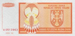 Croatia 500 Million Dinara, P-R16a (1993) - UNC - Kroatien