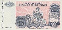 Croatia 100.000 Dinara, P-R22a (1993) NO SERIAL NUMBER - UNC - Kroatien