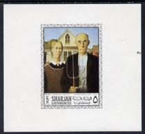 5928 Sharjah 1968 American Artists Imperf Sheetlet Containing 5R Value (Grant Wood Gent) Unmounted Mint As Mi 455 (arts) - Sharjah
