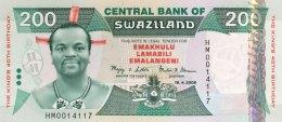 Swaziland 200 Emalangeni, P-35 (19.4.2008) - King's Birthday Banknote - UNC - Swaziland