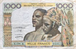 West African States 1.000 Francs, P-103An (IVORY COAST) - VF - West African States