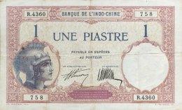 French Indochina 1 Piastre, P-48b (signature 7) - VF - Indochina