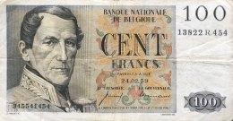Belgium 100 Francs, P-129c (24.2.1959) - FINE - [ 2] 1831-...: Belg. Königreich