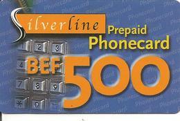 CARTE-PREPAYEE-BELGE-500Bef-SILVERLINE- Avec Autocollant N° Telephones-Plastic Fin-GRATTE-TBE - Belgique