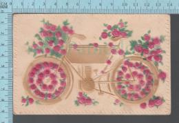 Germany, CPA Embossed Flowers And Earlier Motor Bicycle -  Postcard Carte Postale - Motos