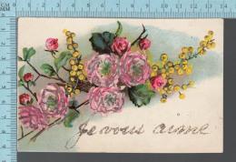 CPA Fantaisie Fleurs, Poudre Brillante, Je Vous Aime -  Postcard Carte Postale - Autres