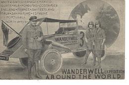 """T.B Carte """" Tour Du Monde Auto """" WANDERWELL Expédition """" - Gros Plans Pilotes , Voiture , Pneus , Chassis FORD VERNEUIL - Autres"""
