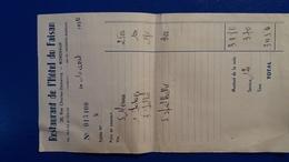 FACTURE RESTAURANT  HOETL DU FAISAN BORDEAUX 1954 - Invoices