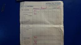 FACTURE HOTEL DU FAISAN BORDEAUX - Rechnungen