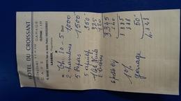 FACTURE HOTEL DU CROISSANT RESTAURANT CAFE CHATELLERAULT - Invoices