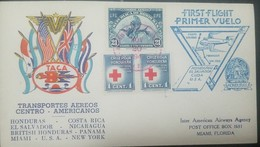 O) 1945 HONDURAS, ORCHIDS 21c - UPU, RED CROSS OBLIGATORY ON ALL DOMESTIC OR FOREIGN MAIL THE TAX, FIRST FLIGHT-TACA- TO - Honduras