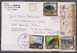 ECUADOR 2014 COVER TO MACEDONIA 4 GALAPAGOS ADHESIVE STAMPS VOLCANO BEACH BIRD FLOREANA POST OFFICE - Ecuador
