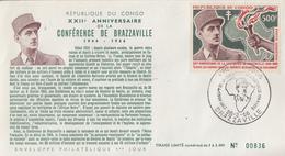 Enveloppe  FDC  1er  Jour   CONGO   Général  DE  GAULLE  Conférence  De  BRAZZAVILLE  1966 - De Gaulle (Generaal)