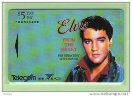 """New Zealand - 1993 Music Legends $5 Elvis Presley """"Heart"""" - NZ-D-7 - Mint - New Zealand"""