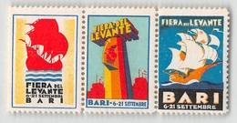 """07391 """"FIERA DEL LEVANTE - BARI 6 / 21 SETTEMBRE 1938 - TRITTICO"""" ERINNOFILI ORIG., MAI APPLICATI - Erinnophilie"""