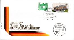 """(Gm2) DDR LETZTAGSBRIEF (PHILSWISS) """"Letzter Gültigkeitstag Der DDR PWZ"""" MiF DDR/WB TSt. 2.10.90 BERLIN 12 - [6] Democratic Republic"""