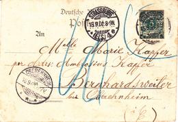 CP Affr Découpe D'entier Obl STRASSBURG / * (ELS) 4 E Du 15.9.01 Inadmis Adressée à Bernardsweiler Taxée 10 Pfg - Storia Postale