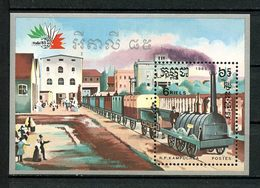 KAMPUCHEA 1985 Bloc N° 53 ** Neuf MNH Superbe Cote 6 € Trans Locomotives Anciennes Exposition Italia Rome - Kampuchea