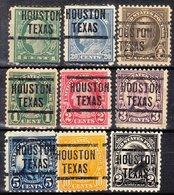 USA Precancel Vorausentwertung Preo, Locals Texas, Houston 204, 9 Diff. Perf. 11x11 - Vereinigte Staaten