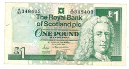 Scotland, The Royal Bank  1 Pound 1989 , Crisp VF - 1 Pound