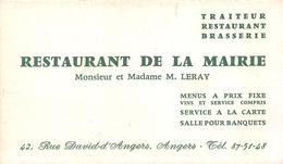 """ANGERS  -  Carte De Visite Du Restaurant De La Mairie Mr Et Mme """"LERAY"""" , 42 Rue David-d'Angers - Voir Description - Angers"""