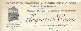 Facture 1924 / MARNE / REIMS / POUPART & CIOCCA / Fabrication Française De Pianos Automatiques Et électriques - France