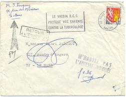 N'HABITE PAS  L'ADRESSE INDIQUÉE  F 036 + RETOUR À L'ENVOYEUR + TàD Verso LE MANS-PONTILLEUE SARTHE  Du 1--7 1966 - Marcophilie (Lettres)