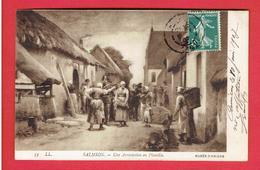 UNE ARRESTATION EN PICARDIE GENDARME 1907 TABLEAU DE SALMSON MUSEE D AMIENS CARTE EN TRES BON ETAT - France