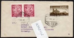 Spanien 1953 MiNr. 1021 (2), 1023 700 Jahre Universität Salamanca Auf Kleinem Brief Nach Deutschland - 1951-60 Briefe U. Dokumente