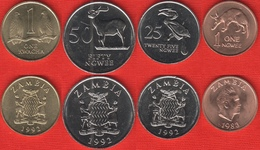 Zambia Set Of 4 Coins: 1 Ngwee - 1 Kwacha 1983-1992 UNC - Zambie