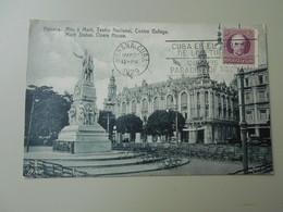 CUBA HABANA Mto, A MARTI TEATRO NACIONAL CENTRO GALLEGO MARTI STATUE OPERA HOUSE TAMPON - Cuba