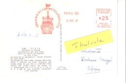 EMA-Cachet Rouge Souvenir Du Sommet De La Tour Eiffel-Paris VII 20 Juil 1965-Tarif *25-cachet à Sec En Relief (gauche) - EMA (Printer Machine)