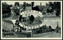 RB 1210 - Multiview Postcard - Bloxham Near Banbury Oxfordshire - School - War Memorial ++ - England