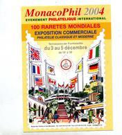 Carte Voeux 2004 Flamme Monaco Phil Sur Timbre Concordant - Marcophilie - EMA (Empreintes Machines)