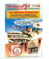 Carte Voeux 2006 Flamme Monaco Phil Sur Timbre Concordant - Machine Stamps (ATM)