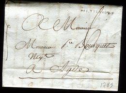 Lettre Avec Texte ( Scan Intérieur Sur Demande ) De Chaury Pour Adge En 1789 - 1701-1800: Precursors XVIII