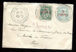 """Maroc - Oblitération """" Trésor Et Postes """" Sur Entier Postal + Complément Au Type Blanc En 1907 Pour Paris - Marokko (1891-1956)"""