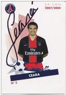 Football PSG Paris Saint St Germain - Carte Avec Autographe Authentique De Marcos Ceara - Fly Emirate - French Soccer - Autographes