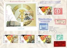 """(Gm2) Großformatiger DDR LETZTAGSBRIEF """"Letzter Gültigkeitstag Der DDR PWZ"""" MiF DDR TSt. 2.10.90 GÖRLITZ 3 - Brieven En Documenten"""