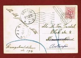 Wenskaart  België 1957   & Stempel Terug Aan Afzender  Deurne 1: 5 Januari & Antwerpen 1: 7 Februari - Postmark Collection