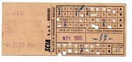 1960 -  Ticket Bus - Biglietto  Autobus Abbonamento Mensile   Sassari /  Padria - Season Ticket