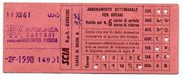 1963 -  Ticket Bus - Biglietto  Autobus  ( Abbonamento Settimanale)    Sassari /  Bonorva Padria - Season Ticket